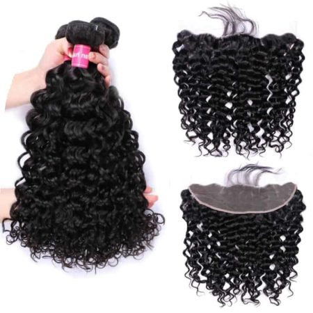 Brazilian Water Wave Human Hair Bundles With Lace Frontal closure (2)