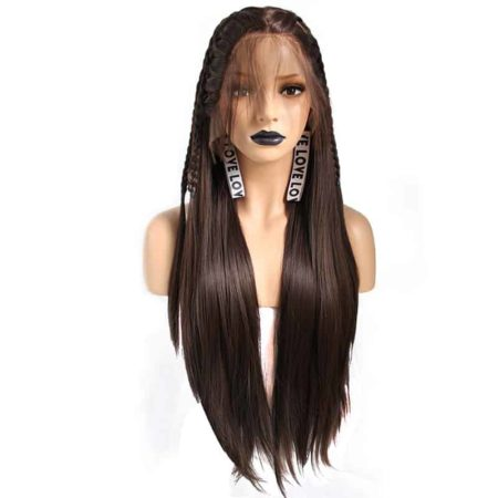 Brown Braids Natural Straight Synthetic Lace Front Wig For Women With Baby Hair Middle Part (1)