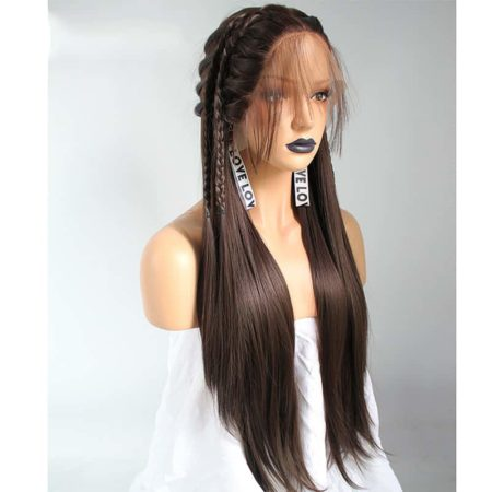 Brown Braids Natural Straight Synthetic Lace Front Wig For Women With Baby Hair Middle Part (6)