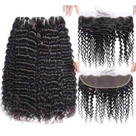 Bundle Deals With Lace Frontal 13x4 Peruvian Deep Curly Human Hair Weave (2)
