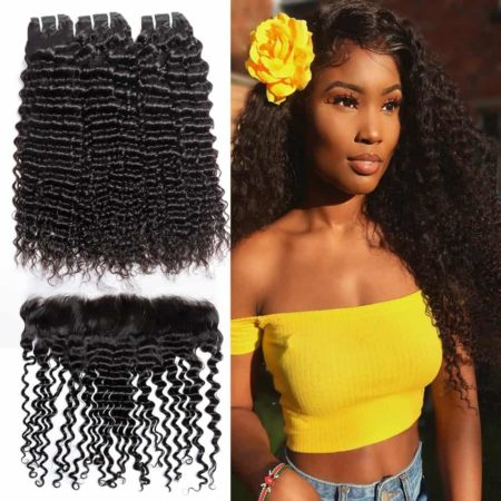 Bundle Deals With Lace Frontal 13x4 Peruvian Deep Curly Human Hair Weave (6)