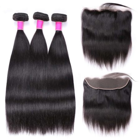 Cheap Brazilian Hair Bundles With Frontal Human Straight Hair Natural Color (2)