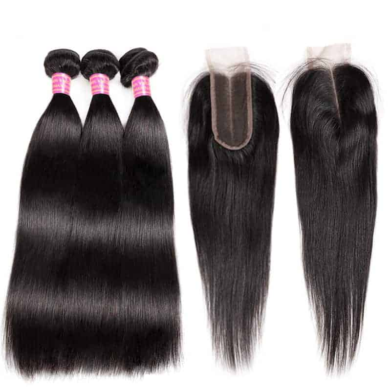Cheap Good Bundles Indian Straight Human Hair Weave 2&3 Bundles With Closure Middle Part (3)