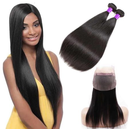 Cheap Lace Frontals With Baby Hair With Brazilian Human Straight Hair 2 Bundles (6)