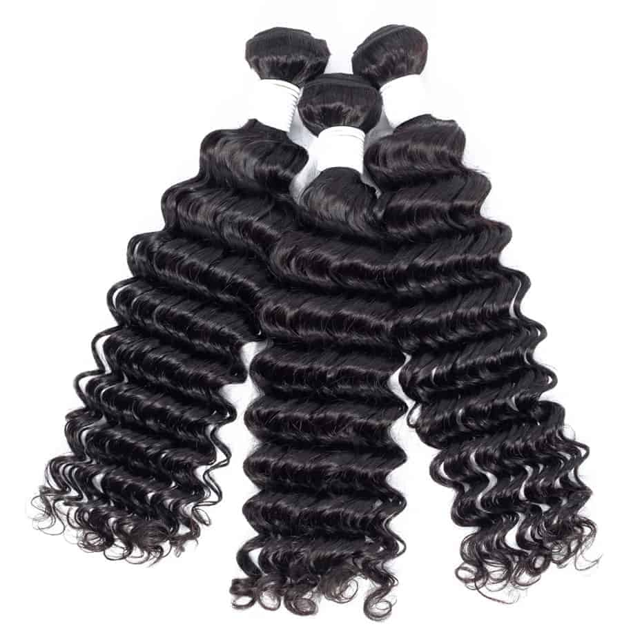 Deep Water Wave Weave Peruvian Remy Human Hair 3 Bundles With Lace Closure (2)