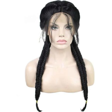 Double Braids Natural Black Middle Part Synthetic Braided Lace Front Wig With Baby Hair (1)
