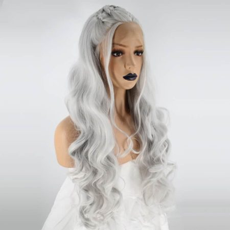 Fully Hand Braided Lace Front Wig Grey Long Wavy Synthetic Hair (5)