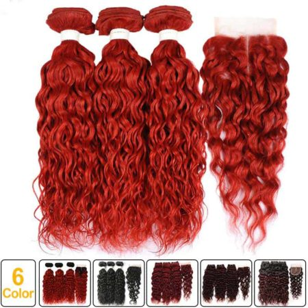 Hair Styles With Wet And Wavy Brazilian Remy Bundles With Closure Burgundy Red (1)