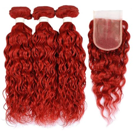Hair Styles With Wet And Wavy Brazilian Remy Bundles With Closure Burgundy Red (6)