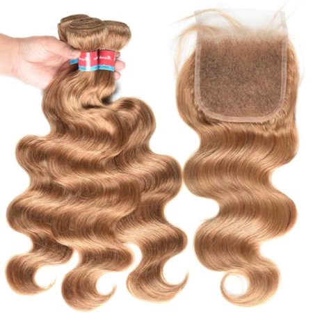Honey Blonde Indian Body Wave Human Hair Bundles With Closure #27 Color (1)