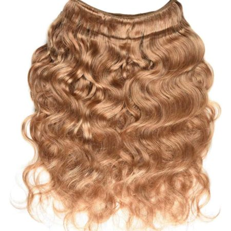 Honey Blonde Indian Body Wave Human Hair Bundles With Closure #27 Color (6)