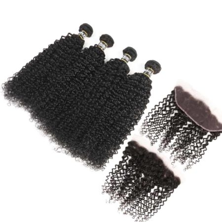 Human Hair 4 Bundles With 13x4 Lace Frontal Black Hair Weave (1)