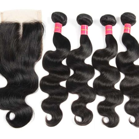 Indian Body Wave 100% Human Hair 4 Bundles With Lace Closure Natural Color (1)