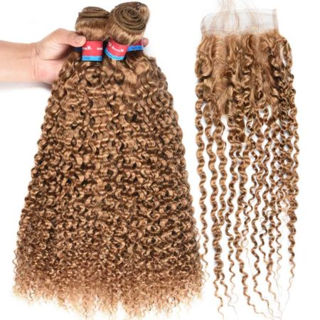 Indian Human Hair 4 Bundles With Natural Curly Indian Hair Closure #27 Honey Blonde Color (2)