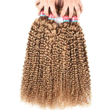 Indian Human Hair 4 Bundles With Natural Curly Indian Hair Closure #27 Honey Blonde Color (5)