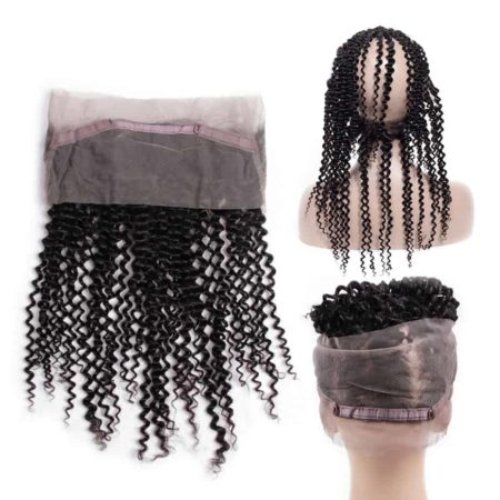 Indian Human Kinky Curly 360 Lace Frontal With Baby Hair Natural Color