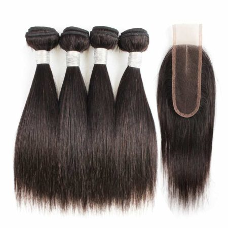 Indian Human Straight 4 Bundles with 2x6 Lace Closure 50g per Piece (6)