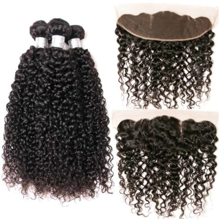 Indian Kinky Curly Lace Frontal Closure With 3 Bundles Human Hair (2)