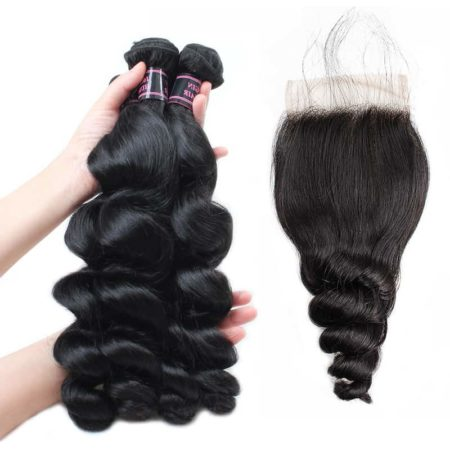Indian Loose Wave Human Hair Bundles With Lace Closure With Baby Hair (3)