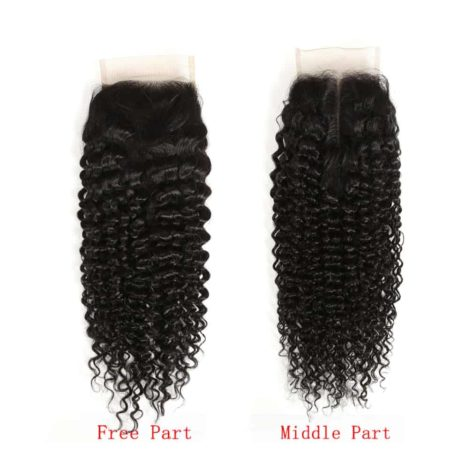 Indian Remy Human Hair 4X4 Kinky Curly Lace Closure Piece Natural Color (1)