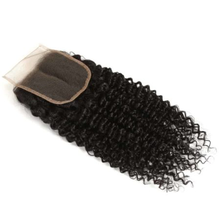 Indian Remy Human Hair 4X4 Kinky Curly Lace Closure Piece Natural Color (2)