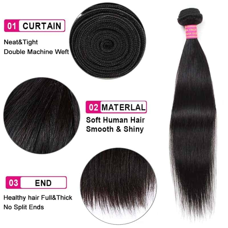 Indian Straight 100 Human Hair Weave 4 Bundle Deals With Closure (1)
