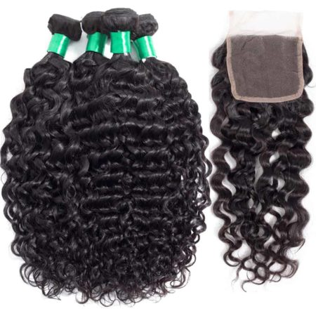 Indian Wet And Wavy Human Hair 3 Bundles With Closure Remy Hair (1)