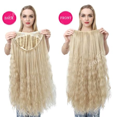 Long Kinky Curly Blonde U Part Wig with Clips Synthetic Hair (2)