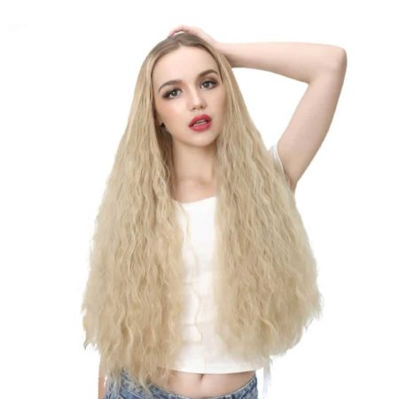 Long Kinky Curly Blonde U Part Wig with Clips Synthetic Hair (6)