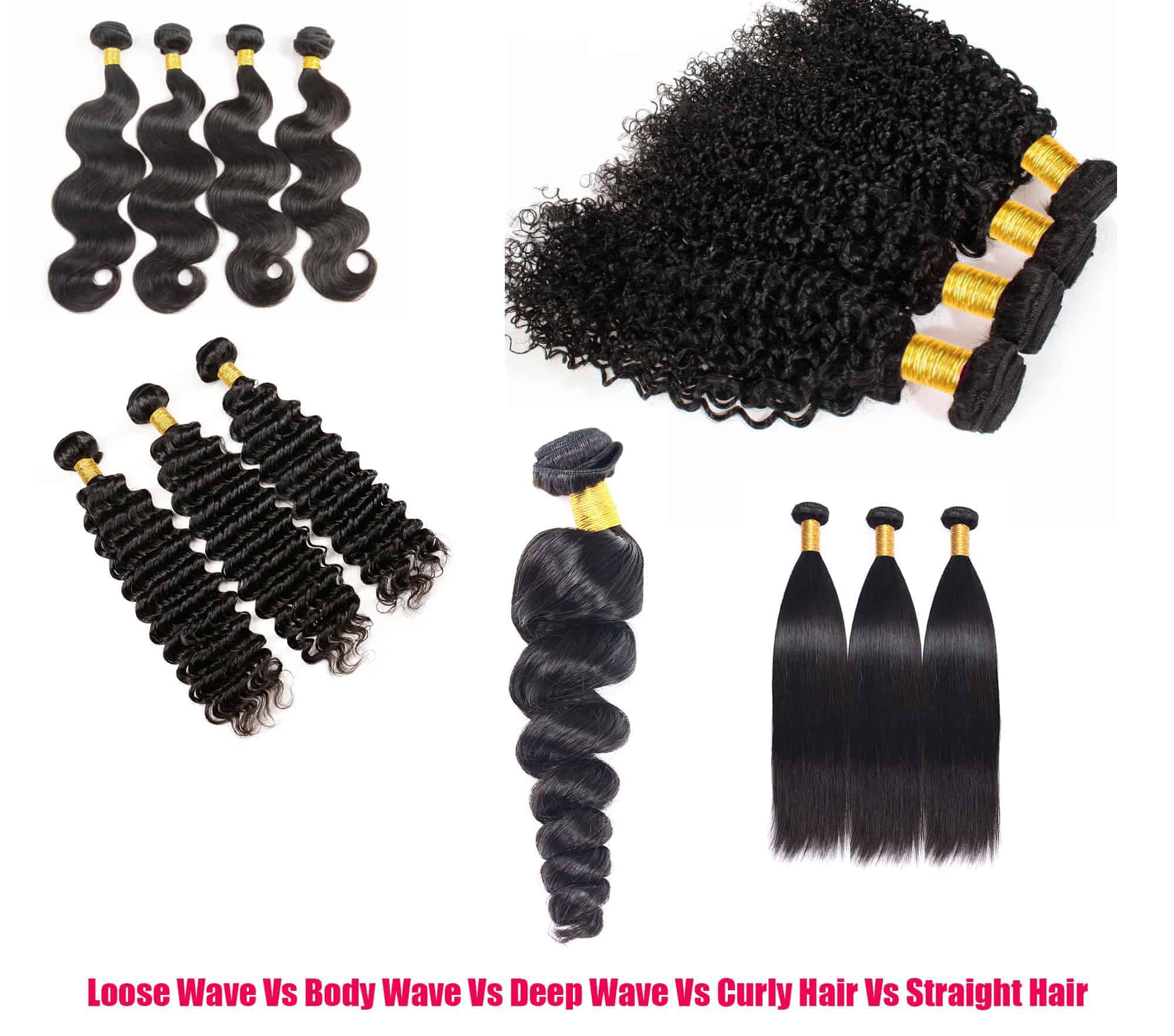Loose Wave Vs Body Wave Vs Deep Wave Vs Curly Hair Vs Straight Hair