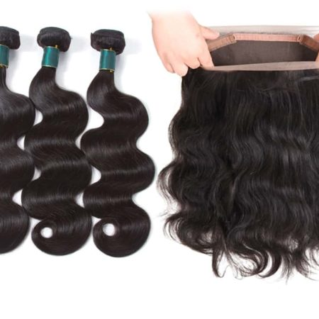 Malaysian Body Wave Human Hair Bundles Weaves with 360 Lace Frontal Natural Color (1)