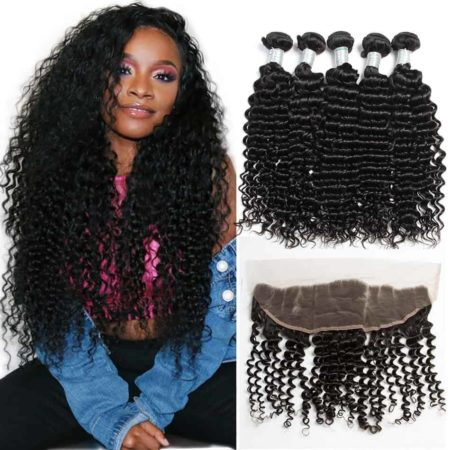 Malaysian Deep Wave Curly Hair Bundles With Lace Frontal Closure Virgin Human Hair (1)