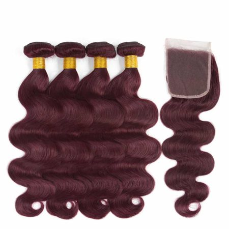 Malaysian Hair Weave Bundles Body Wave With Closure 99J Burgundy Ombre Hair (3)
