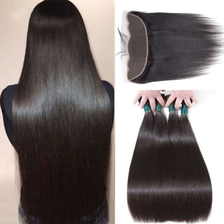 Malaysian Human Straight Hair 3 Bundles with 13x4 Lace Frontal Closure (5)
