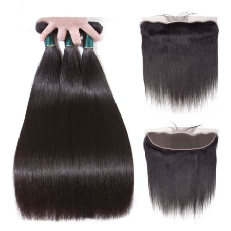 Malaysian Human Straight Hair 3 Bundles with 13x4 Lace Frontal Closure (6)