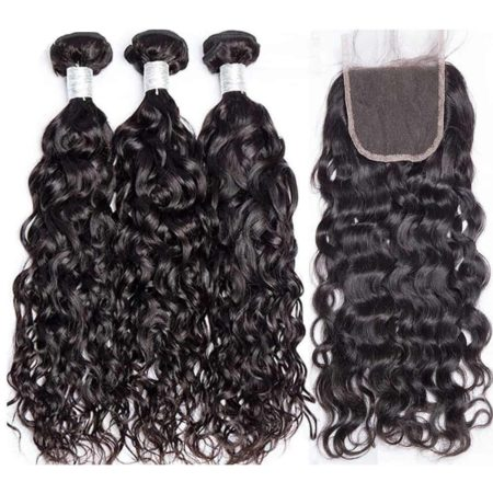 Malaysian Human Water Wave Remy Human Hair 3 Bundles with Lace Closure (5)