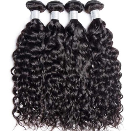 Malaysian Human Water Wave Remy Human Hair 3 Bundles with Lace Closure (6)