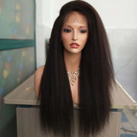 Malaysian Italian Yaki Full Lace Human Kinky Straight Hair Wigs For Black Women (6)