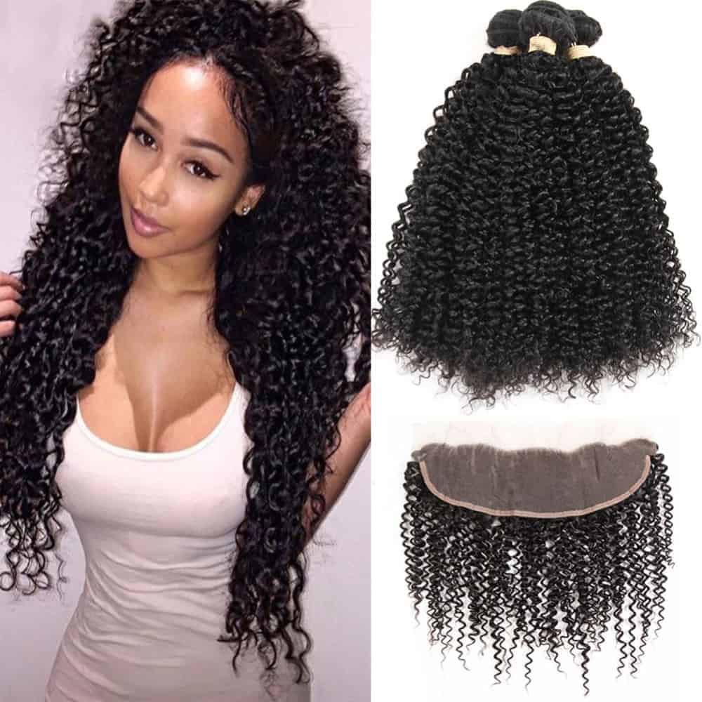 Malaysian Kinky Curly 3 Bundles With Full Frontal Weave Closure (2)