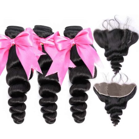 Malaysian Loose Wave Bundles With 13X4 Frontal Remy Human Hair (2)
