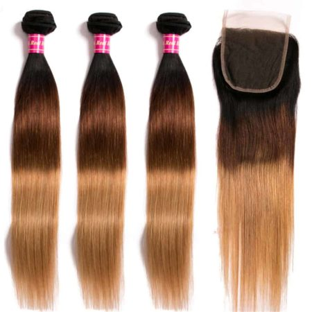 Malaysian Ombre Straight Hair Bundles With Closure T1B 4 27 Color (4)