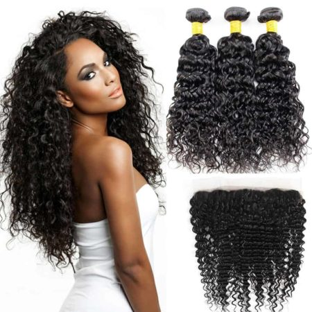 Malaysian Water Wave 3 Bundles With Frontal Closure Wet And Wavy Hair (2)