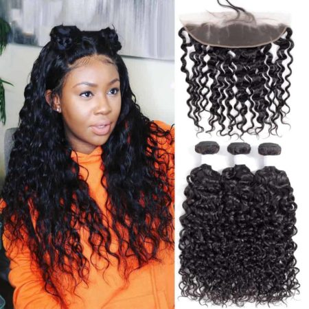 Malaysian Water Wave 3 Bundles With Lace Frontal Closure Sew In Human Hair (4)