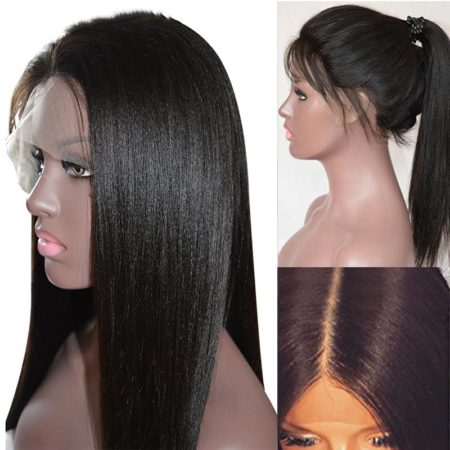 Malaysian Yaki Straight Glueless Full Lace Wigs For Women With Baby Human Hair (3)