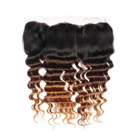 Ombre 1B 4 30 Color Brazilian Loose Deep Wave 13x4 Swiss Lace Frontal Closure (4)