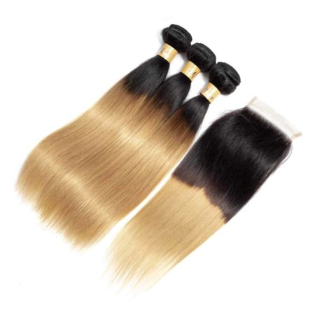 Ombre Indian Straight Human Hair Bundle Deals With Closure T1b 27 (5)