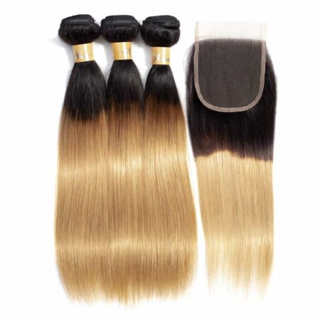Ombre Indian Straight Human Hair Bundle Deals With Closure T1b 27 (6)