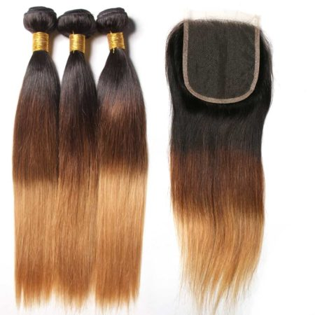 Peruvian 3 Tone Ombre Straight Human Hair Bundles With Closure 1B 4 27 30 Color (1)