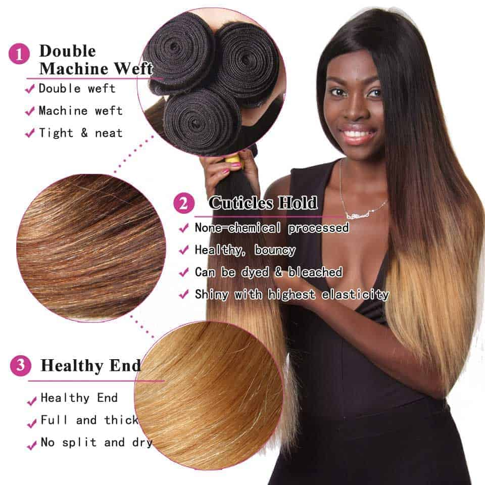 Peruvian 3 Tone Ombre Straight Human Hair Bundles With Closure 1B 4 27 30 Color (2)