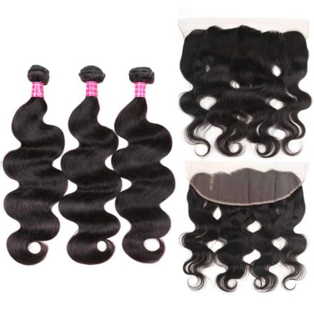 Peruvian Body Wave 100% Human Hair Bundles With Lace Frontal Closure (1)